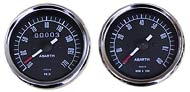 Analog gauges black face for vintage Fiat 500