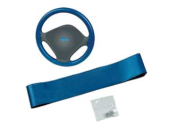 Blue leather steering wheel cover (imp. cm 8-9.3)